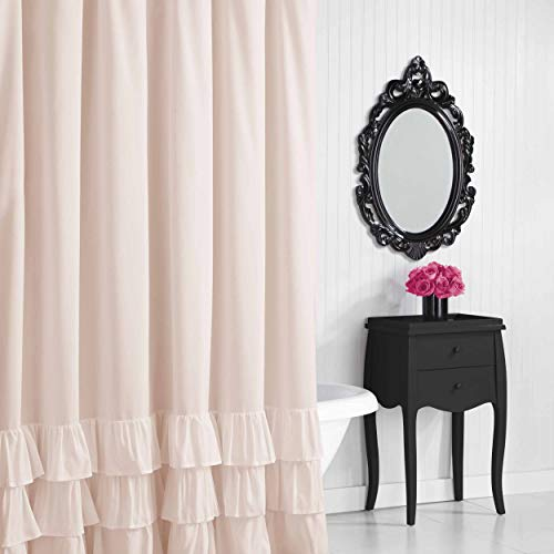 Betsey Johnson Solid Microfiber Shower Curtain, 72x72, Pastel Pink (Shower Curtain Johnson Betsey)