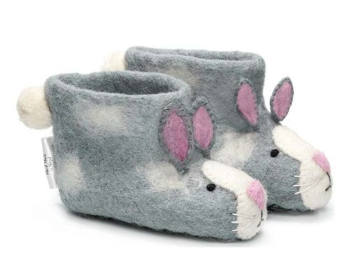 Slippers lapin gris pour les enfants de 2 ans