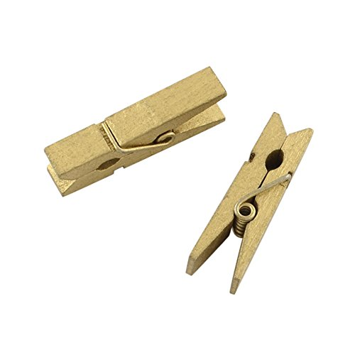 Postcard Pin - NBEADS 1000 Pcs DIY Wooden Craft Ideas Photo Wall Decorations Small Clothespins Postcards Tags Note Pegs Clips Wood Clamps, DarkKhaki, 30x4mm