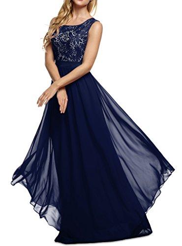 cooshional Vestido largo de fiesta y cóctel sin mangas vestido de encaje y gasa de las mujeres Azul oscuro