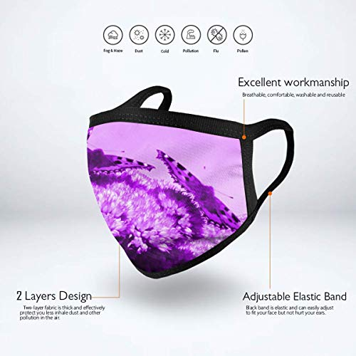 Dust Mask Purple Butterflies Purple Flower Antiviral Face Mask Cover Anti-dust Reusable Windproof Half Face Mouth Warm Masks for Ski Bicycle Cycling Motorcycle Women Men