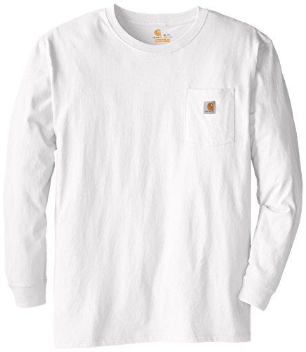 Carhartt Men's Big and Tall Workwear Jersey Pocket Long-Sleeve Shirt K126 (Regular and Big & Tall Sizes), White, Large