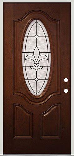 Mahogany Entry (3/4 Oval Mahogany Fiberglass Entry Door #44 Fleur-de-lis, Left Hand)