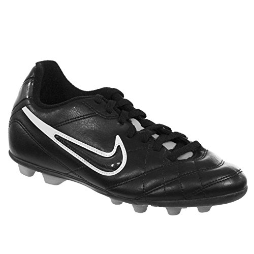 (NIKE JR TIEMPO RIO INTERCHANGE FG-R Youth Soccer Cleat Black White Grey Slv 3.5Y)