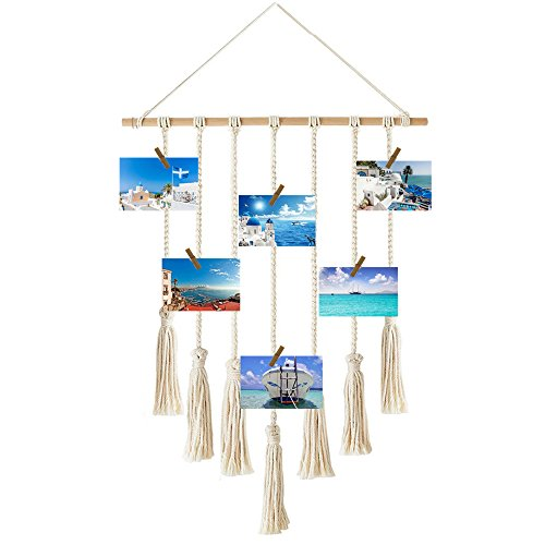 Awtlife Hanging Photo Display Wall Hanging Pictures Organizer For Wedding Home Decor, Cotton Cord With 30 Wood Clips by Awtlife