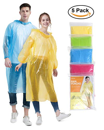 Newbyinn Rain Ponchos Family Pack for Adults (5 Pack), Extra Thick Quality Disposable Emergency Poncho, Assorted Colors