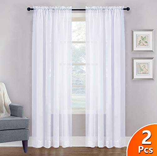 (NICETOWN Sheer White Curtains 84 - Rod Pocket Window Treatment Sheer Voile Drapes for Bedroom, Living Room (One Pair, W60 x L84))