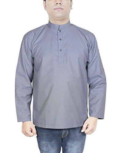 Herren Kurta in Grau Baumwolle Ethnisches Herrenhemd aus Indien