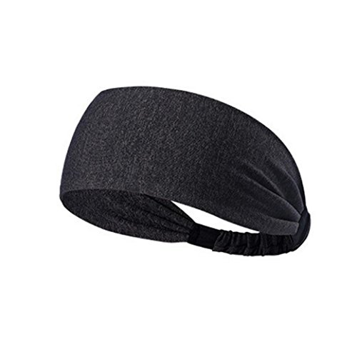 - NEWONESUN Women Cotton Knotted Turban Head Warp Hair Band Wide Elastic Headband Sport Yoga (Dark Gray)