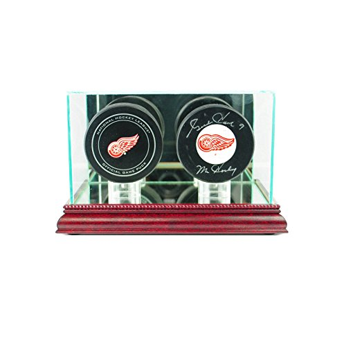Glass Double Hockey Puck Display Case Uv Protection Cherry Wood And Mirror (Puck Shadow Box)
