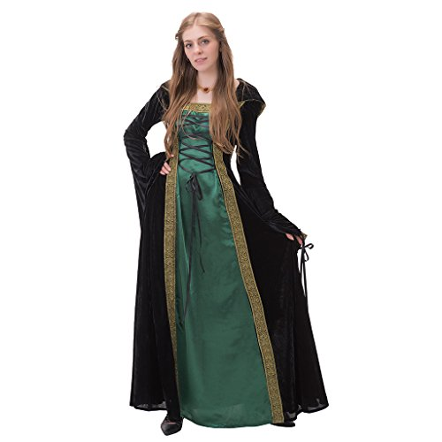 1791's lady Medieval/renaissance Hooded Gown dresses (Green Medieval Dresses)