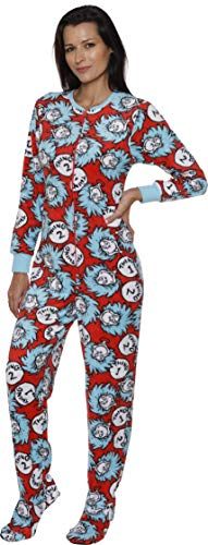 Dr. Seuss Thing One & Thing Two Women's Pajama Set, Footed Union Suit, Multi-Color, Size M