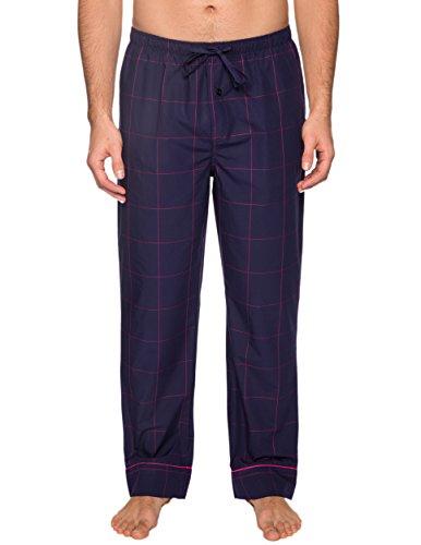 Men's Premium Cotton Lounge Pants - Windowpane Checks Blue/Red - Small