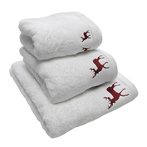 - Luxury Embroidered Christmas Festive 100% Cotton Towel - Reindeer Stag - White Red - Bath Towel