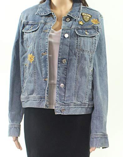 LAUREN RALPH LAUREN Womens Susan Spring Embroidered Denim Jacket Blue 14