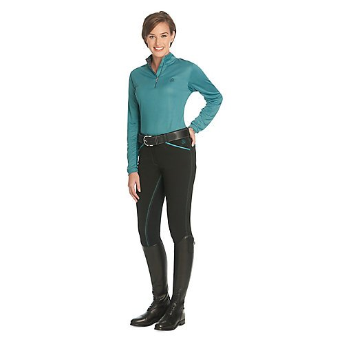 Ovation Euroweave Ladies Breech (Ovation Ladies Heiress FS Breech 26 Black/Teal)