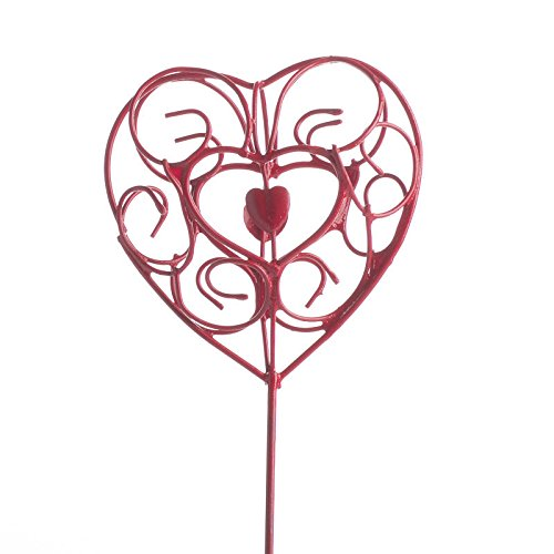 Factory Direct Craft Group of 6 Red Metal Scroll Designed Heart Picks for Decorating, Valentines, and Events (Red Floral Scroll)