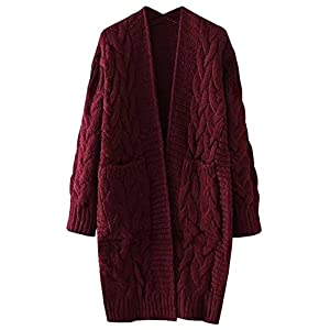 futurino Women's Cable Twist School Wear Boyfriend Pocket Open Front Cardigan …