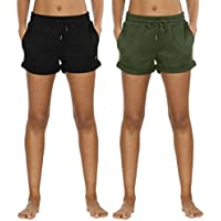 icyzone Workout Lounge Shorts for Women - Athletic Running Jogging Cotton Sweat Shorts
