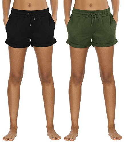 icyzone Workout Lounge Shorts for Women - Athletic Running Jogging Cotton Sweat Shorts (XL,Black/Green)