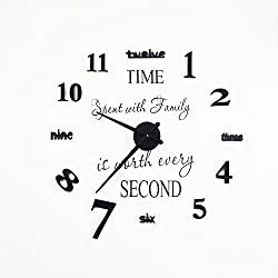 Wall Clock DIY Clock,Ailuner Modern Frameless Large 3D Number Clock with Home Decor Wall Sticker Decal for Home Bedroom Office Decor Gift. (Black)