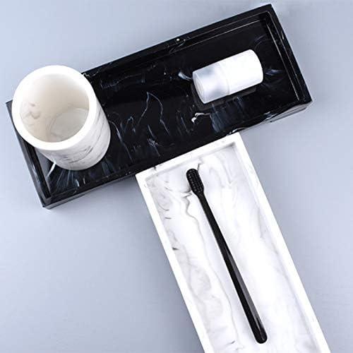 M/áRmol Blanco Cocina y Otra Bandeja Decorativa Cosm/éTica Joyer/íA JVSISM 2 Piezas Bandeja de Lavabo Ba?O Bandeja de Almacenamiento de Resina Estilo M/áRmol Cosm/éTico M/áRmol Negro