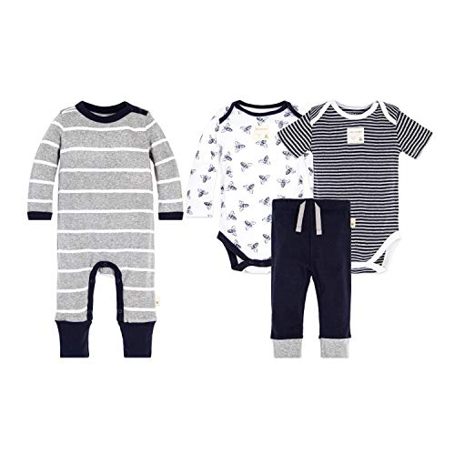 Burt's Bees Baby Unisex Baby 4-Piece Clothing Set, Bodysuit, Romper Pant Bundle, 100% Organic Cotton, Original Bee, 6-9 Months