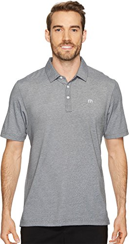 TravisMathew Men's The Zinna Polo Grey Pinstripe/White XXX-Large