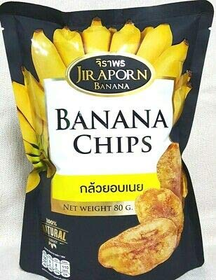 Jiraporn Banana Chips with Butter 100% Natural Snack 80 g.