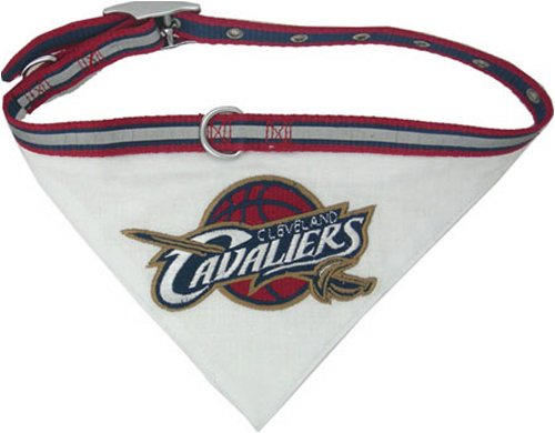 Pets First NBA BANDANA - CLEVELAND CAVALIERS DOG BANDANA with Reflective & Adjustable DOG COLLAR, Small