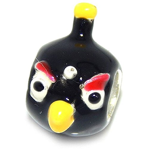 Pro Jewelry 925 Solid Sterling Silver Black Angry Bird Charm Bead