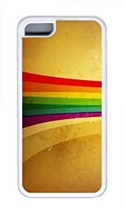 Grunge Rainbow strip TPU Case Cover for iPhone 5C White