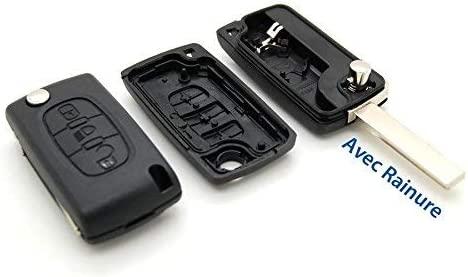 Carcasa con mando a distancia para llave compatible con Citro/ën C4 Picasso Citro/ën 3 botones, con ranura