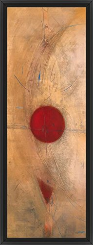 22in x 61in Triptyque Rouge I by Carole Becam - Black Floater Framed Canvas w/ BRUSHSTROKES - Triptyque Rouge