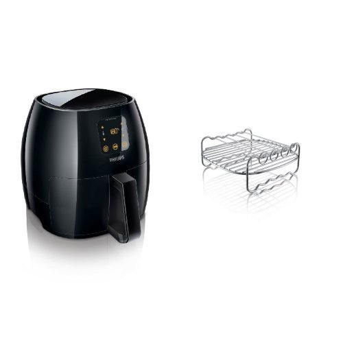 Philips XL Airfryer, The Original Airfryer, Fry Healthy with 75% Less Fat, Black, HD9240/94 & Philips HD9904/00 Double Layer Rack, Silver