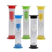 ZYAQ Sand Timer Set 30sec / 1min / 3mins / 5mins / 10mins-Mini Colorful Sandglass Hourglass, Sand Clock Timer, Tooth Brushing Countdown for Children 5Pcs (Multi)