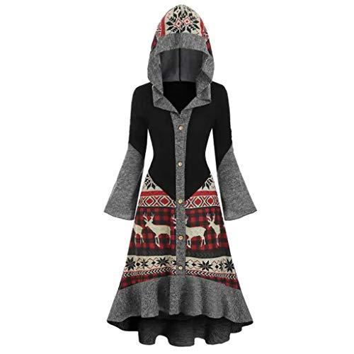 Womens Hooded VintagePlus Size Christmas Elk High Low Flounce Hem Knitted Dress (Dress Christmas Knitted)