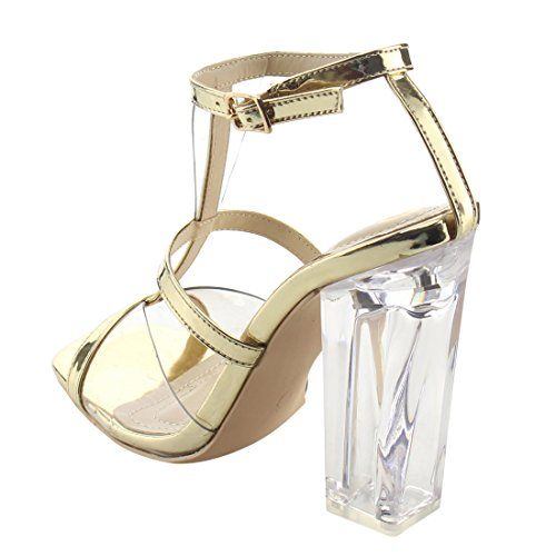 ELEGANT AF91 Womens Clear Lucite Heels T-strap Dress High Sandals Gold bQUcRBf