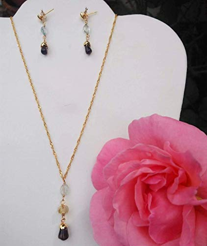 (Aquamarine, lodolite and smoky quartz. Handmade, Gemstone, and 14k gold plated chain, Necklace and Earrings Set)