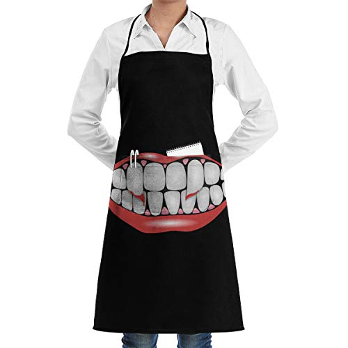 Lao Yang Mai Halloween Scary Mouth Teeth BBQ Waiter Housekeeper Pet Grooming Bartender Kitchen Beautician Hairstylist Nail Salon Carpenter Shoeing Wood Painting Artist Pocket Apron