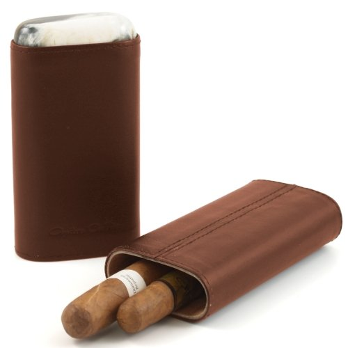 Andre Garcia Horn Collection Cognac Brown Leather Cigar Case with Buffalo Horn Accent