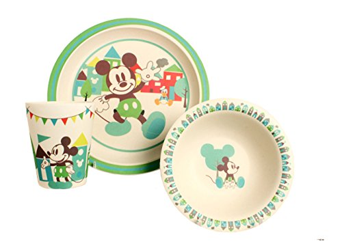 Disney Mickey Celebrations Bamboo Dinnerware Set, Multicolor, - Mouse Clubhouse Dinnerware Mickey