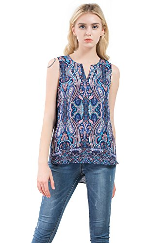 Vero Viva Women Summer Floral Printed V Notch Neck Sleeveless Hi-lo Tank Top Blouse (Small, Multi) by Vero Viva