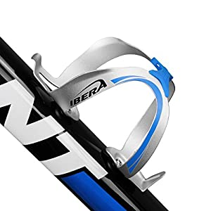 Ibera Bicycle Extra Lightweight Alloy Fusion Water Bottle Cage with Rubber Grip, 1.1-Ounce/31gm, Silver/Blue