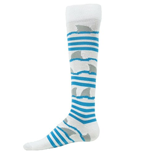 Red Lion Shark Printed Soft Knee High Sports Socks (White / Turquoise -Small ) (Shark Soccer Socks compare prices)