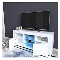 Living Room LUKKC TV Stand High-Gloss LED Lights Media Console Modern Wood TV Desk Entertainment Center Table Storage Cabinet with 2… modern tv stands