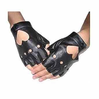 GOOTRADES Punk Fingerless Dance Glove For Women, Jazz Style Glove, PU Leather (Black)