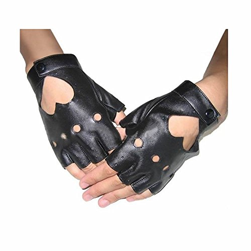 (GOOTRADES Punk Fingerless Dance Glove For Women, Jazz Style Glove, PU Leather (Black) )