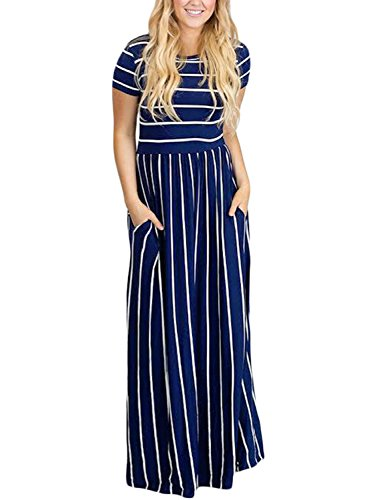 (HOTAPEI Women's Plus Size Summer Casual Loose Pocket Striped Cotton Long Dress Short Sleeve Maxi Dresses Navy Bue US 18 20)