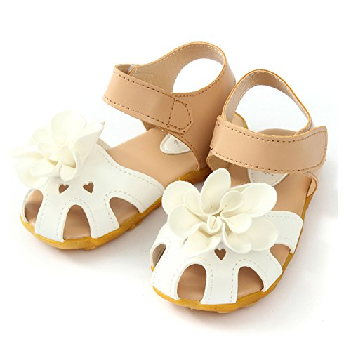 Price comparison product image Daved8Co Girls Shoes Baby Girls Sandals Shoes Infant Children Kids Flower Shoes Pu Leather Size 21-30 White 11